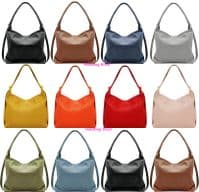 Handbag Bliss Large Italian Soft Grained Leather Handbag Shoulder Slouch Bag Backpack Rucksack